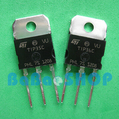 5pairs Tip36c Tip35c Silicon High Power Npn Pnp Transistor St To-218 New