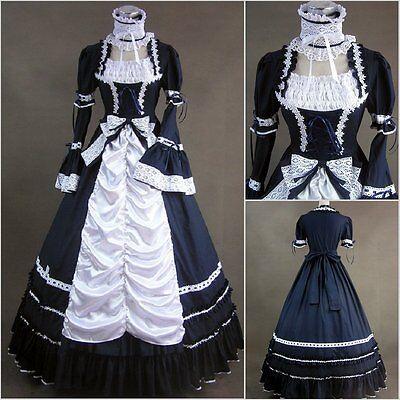 Gothic Butler Kostüme (Black Butler Cosplay Kostüm Abend-kleid Lolita Goth Gothic Victorian lang Blau)