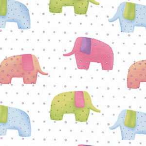 100-Cotton-Fabric-Dressmaaking-Bedding-Elephant-white