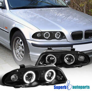 1999-2001 BMW E46 4dr 323i 328i 330i Dual Halo Projector Headlights Black