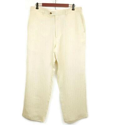 Cubavera Mens 35 1/2 Pants Linen Blend Khaki Casual Pants Flat Front Zip Front Cubavera Linen Pants