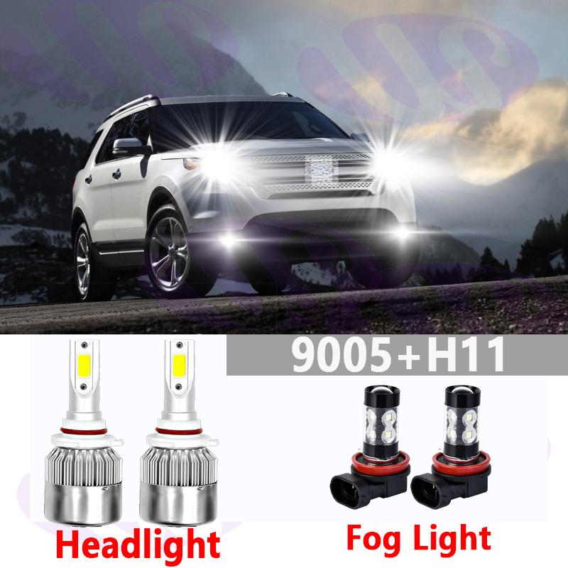 For Ford Explorer 2011-2015 -4PC Combo LED Headlights Fog Light Bulbs Kit 6000K