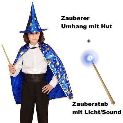 ZAUBERER UMHANG + HUT + ZAUBERSTAB Kinder Kostüm für Jungen und Mädchen (Zauberer-kostüm Für Jungen)