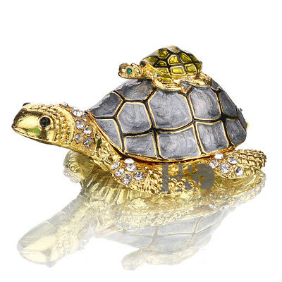 2 Stacked Turtle Metal Trinket Boxes Figurines Collection Wedding Gifts - Decorative Turtle Gift Box