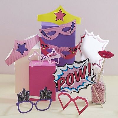 PHOTO BOOTH PROPS & MASKS - POP ART SUPERHERO PARTY