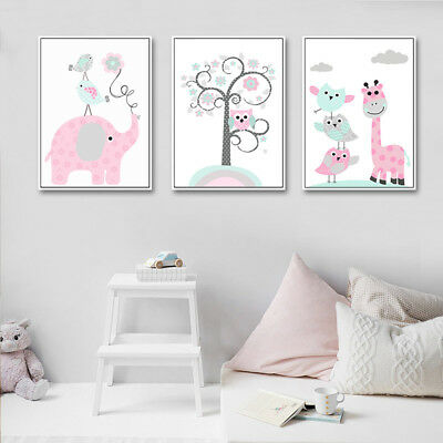 Elephant Giraffe Canvas Poster Cartoon Nursery Wall Art Print Kids Bedroom Decor