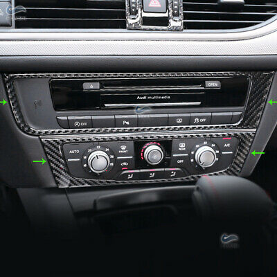 L/RHD Central Console CD Panel Decorative Cover Real Carbon Fiber For Audi...