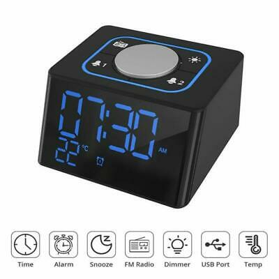 LED Wireless Bluetooth Speaker Alarm Clock FM Radio with Dual USB Charging Port