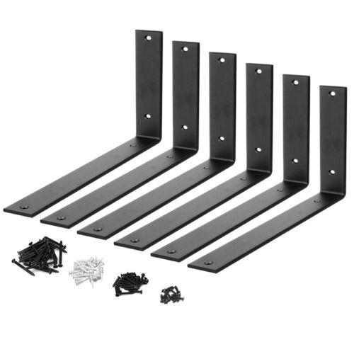 """6 Packs 12"""" Heavy Duty Black Wall Hook Steel Shelf Brackets Support Thick 5mm"""