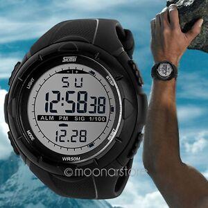 New fashion Men LCD Digital Stopwatch Date waterproof Rubber sport wrist Watch