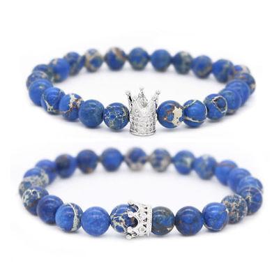 2Pcs King Queen Crown Couple Natural Stone Friendship Blue Imperial Bracelets