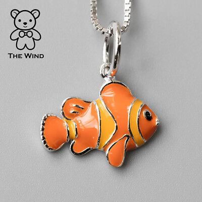 - Orange Clown Fish Pendant Necklace 925 Sterling Silver Enamel Ocean Beach Sea