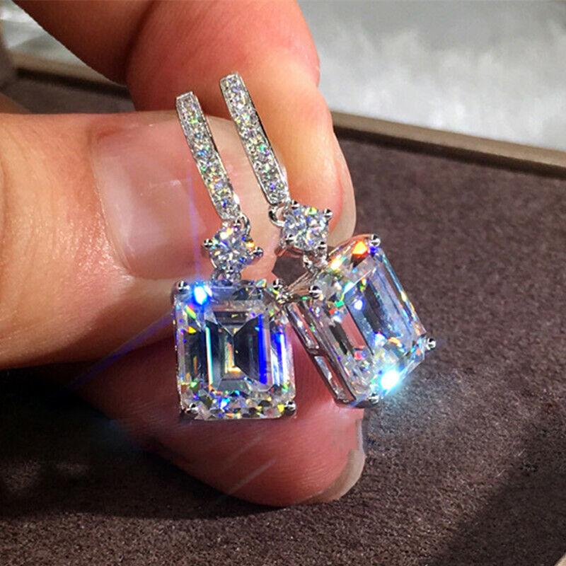 Elegant 925 Silver Earrings for Women Sapphire Wedding Engagement Jewelry Gift