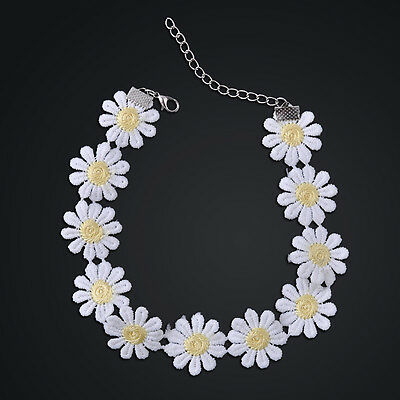 (Girl Sweet White Lolita Lace Choker Daisy Flower Yellow Collar Necklace Jewelry)