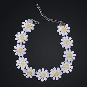 Girl Sweet White Lolita Lace Choker Daisy Flower Yellow Collar Necklace Jewelry