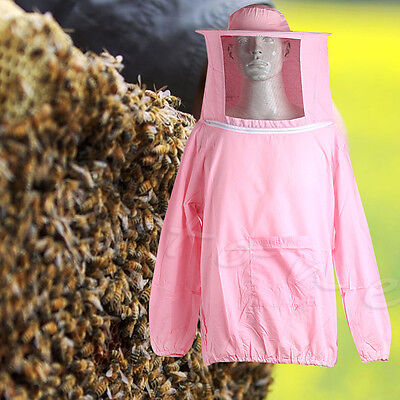 Beekeeping Jacket Veil Smock Equipment Supplies Bee Keeping Hat Sleeve Suit Pink