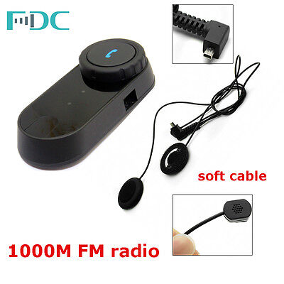 Brand FDC 1000M T-COM Motorcycle Bluetooth Intercom Interphone+Soft Wire Headset