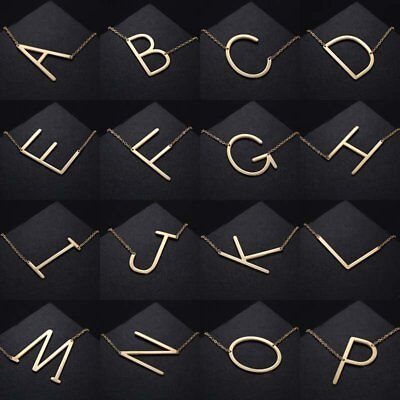 Gold/Silver Stainless Steel Large Alphabet Initial Pendant Necklace Jewelry Gift ()