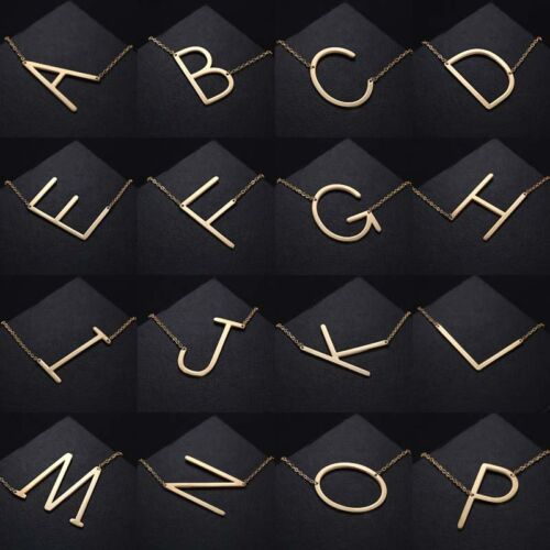 Jewellery - Gold/Silver Stainless Steel Large Alphabet Initial Pendant Necklace Jewelry Gift