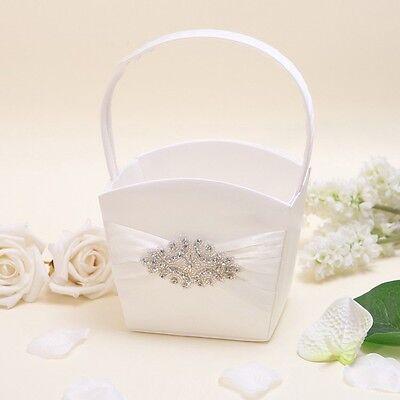 Ivory Rectangle Satin Crystal Wedding Flower Girls Basket Bridal Favors