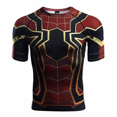 Spider-Man Homecoming Short Sleeve Iron Spiderman Fitness T-Shirt Costume US - Spider Man Costume T Shirt