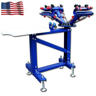 Vertical 4 Color 1 Station Screen Printing Press Micro-adjust Screen Printer