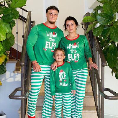 Striped Christmas Family Matching Pajamas Holiday Xmas Elk Santa Sleepwear PJs