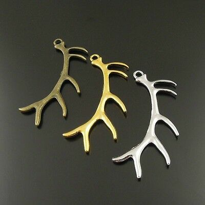 9 pcs Mixed Color Alloy Cute Deer Antler Horn Symbol Pendant Charms 37995