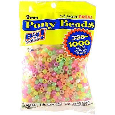 9mm Glow in the Dark Colors Pony Beads Bulk 1,000 Pieces