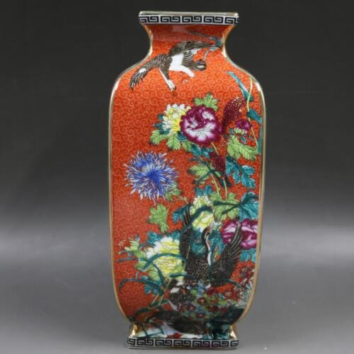 Chinese Old Marked Red Enamel Colored Flower and Bird Pattern Porcelain Vase
