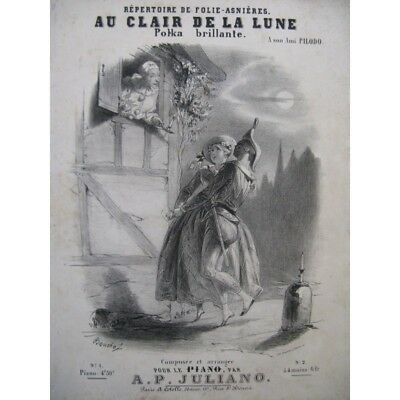 JULIANO Auguste Pilati Au Clair de la Lune Piano ca1850 partition sheet music (Au Clair De La Lune Sheet Music)