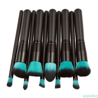Makeup 10pcs Cosmetic Brush Face Powder Eyeshadow Blush Brushes Set Tools Black