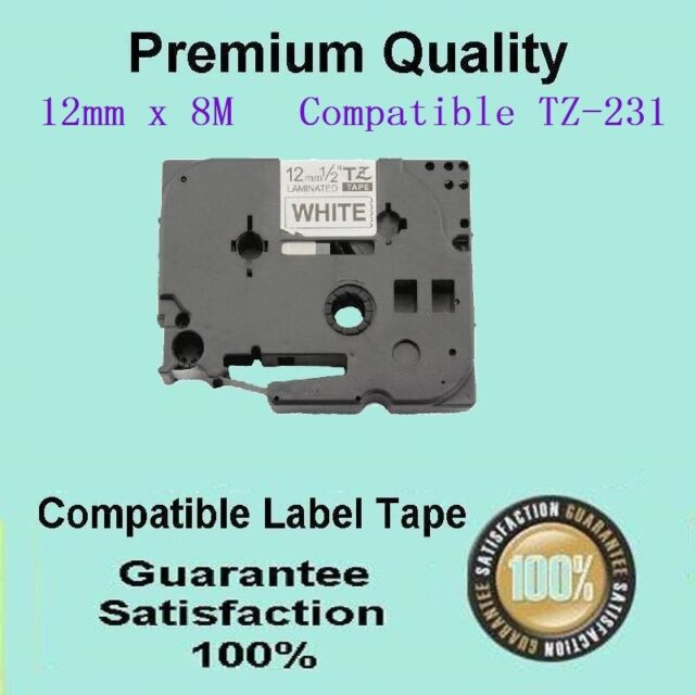2 of LAM tape COMP FOR Brother TZ231 P-Touch Black Text On White 12mm PT1000