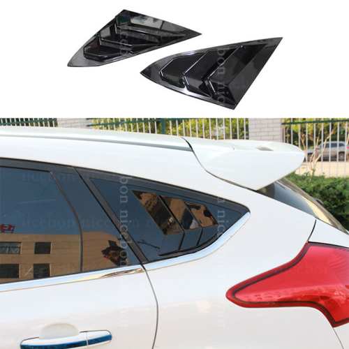 shiny Rear Quarter Panel Window Side Louvers Vent Fit for Ford Focus Hatchback