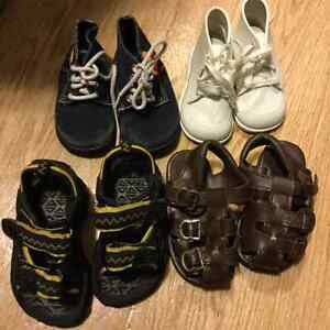 Variety of baby shoes/sandals.