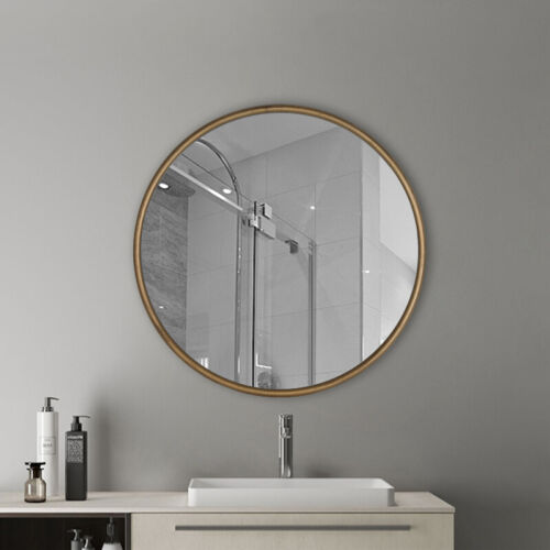 """22"""" Round Gold Wall Mounted Hanging Mirror Bathroom Decorative Circle Indoor"""