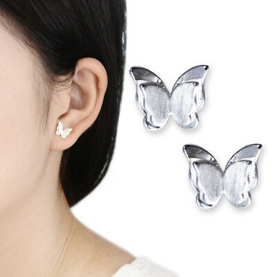 Small Butterfly Earrings - Women Girls Fashion Jewelry Butterfly Stud Earrings Small Silver Plated Brushed