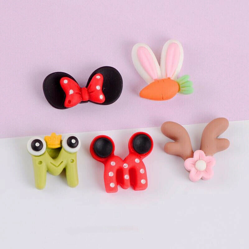 20Pcs Assorted Cartoon Resin Bow Tie Flatback Buttons Cabochons for Crafts Decor
