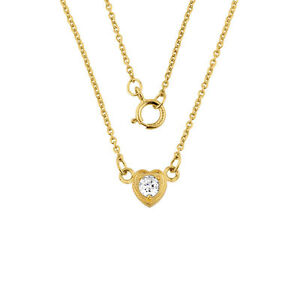 14K Gold 0 20ctw Diamond Dainty Heart Necklace Made in USA