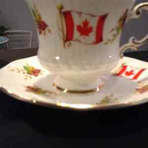 Maple leaf and Canadian flag fine bone china cup and saucer
