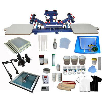 4 Color 2 Station Silk Screen Printing Kit Machine Diy Materials Exposure Us