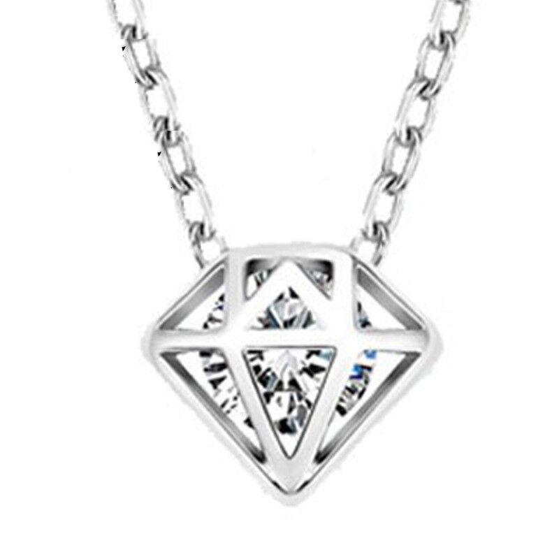 Women 925 Sterling Silver Plated Beauty Crystal Diamond Shape Pendant Necklace