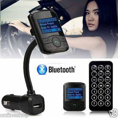 LCD Car Kit MP3 Bluetooth Player FM Transmitter Modulator SD MMC USB Remote 2017