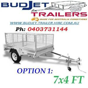 TRAILER HIRE RENTAL BRISBANE QLD 7 x 4 FT CAGED FROM $55 PER/DAY
