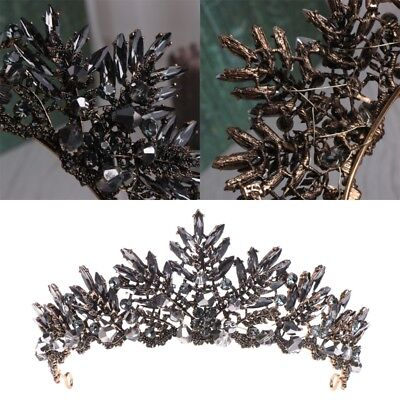 Baroque Crown Wedding Prom Tiara Jewelry Headdress Black Rhinestone Accessories - Black Tiara Crown