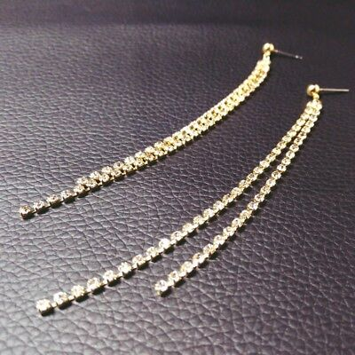 Crystal Dangle Drop Earrings Silver Gold Bridal Rhinestone Long Chain Earrings Chain Rhinestone Drop Earrings
