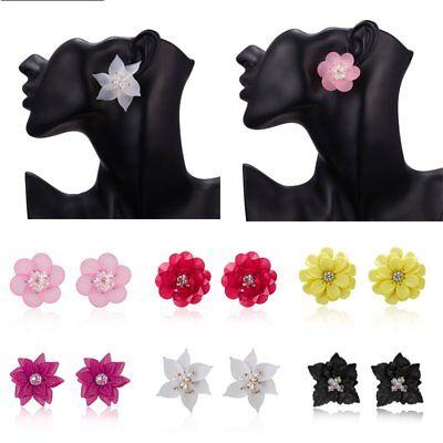 (Fashion Elegant Women Multilayer Flower Charm Crystal Ear Stud Earrings Jewelry)