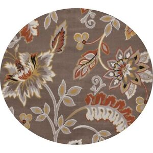 Andover Mills Selina Tufted Taupe Salmon Area Rug 5'1 Round