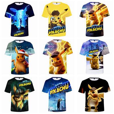 Pokemon Pikachu 3D Jungen Mädchen Kurzarm T-shirt Kinder Shirt Kostüm Gr. 98-140