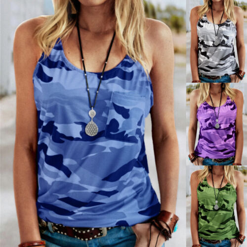 Womens Casual Camouflage Print T Shirt Crew Neck Sleeveless Loose Tank Top Tops